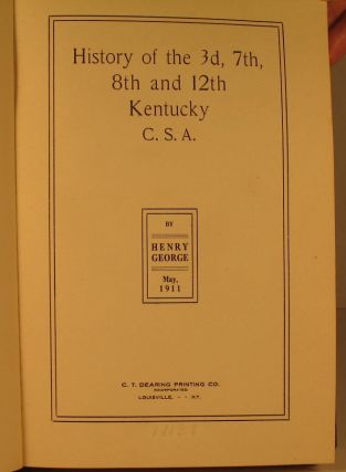 History of the 3d, 7th, 8th, and 12th Kentucky, CSA.