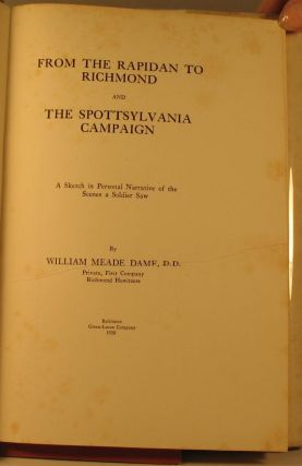 From the Rapidan to Richmond and the Spottsylvania Campaign.