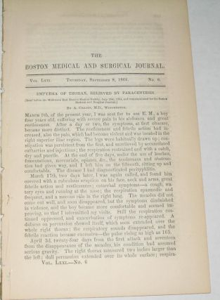 The Boston Medical and Surgical Journal. individual article