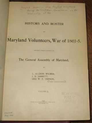 History and Roster of Maryland Volunteers, War of 1861-5